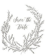 Save the date, hand drawn lettering and grey brunches for design