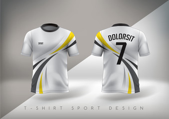 Soccer sport t-shirt design slim-fitting with round neck. Vector illustration.