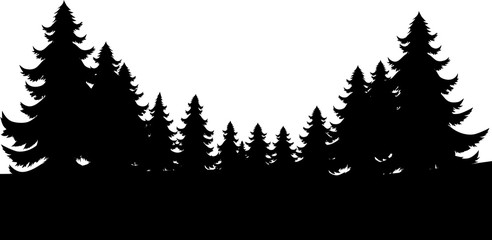 A silhouette Christmas evergreen trees footer background