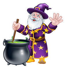 A wizard cartoon character stirring a cauldron pot full of magic potion