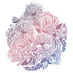 Linear vector floral composition with flowers.
