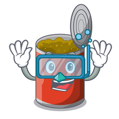 Diving metal food cans on a cartoon