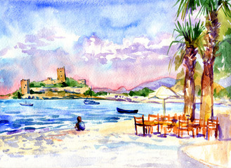 watercolor painting boy on the beach near a cafe on the beach with a view of the fortress