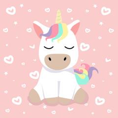 Cute cartoon nice unicorn Vector