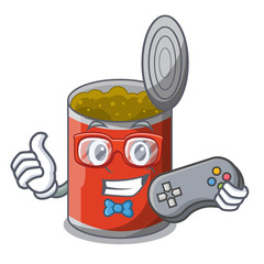 Gamer canned food on the table cartoon