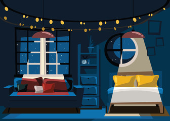 bedroom in celebration day at night vector illustration