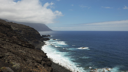 Coastal views towards the western side of the island, on the walking route to Charco Azul, El Hierro, Canary Islands, Spain