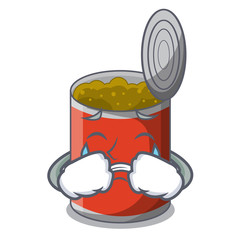 Crying canned food on the table cartoon