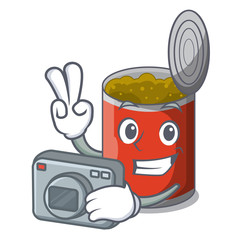 Photographer canned food on the table cartoon
