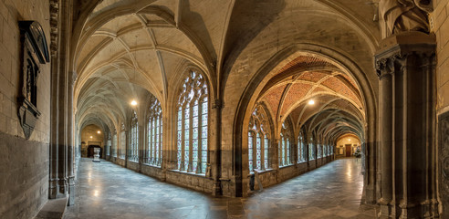 Beautiful view of the interior of the St. Paul's cathedral cloister in Liege, Belgium