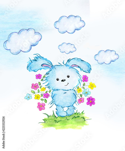 Cute Rabbit With Flowers Perfect For Kids Print Birthday Cards Design Books Invitations An Illustration Is Drawn In Colored Pencils