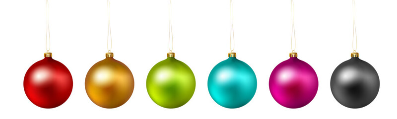 Set of color Christmas ball on white background. Vector .