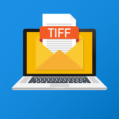 Laptop with envelope and TIFF file. Notebook and email with file attachment TIFF document.