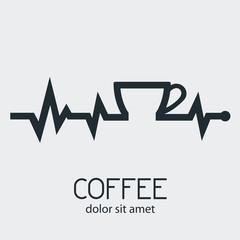 Logotipo COFFEE con pulso con taza de cafe en fondo gris
