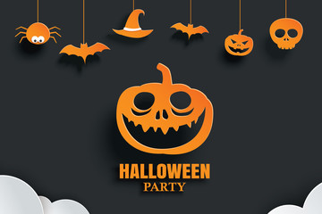 Halloween orange paper hanging in dark background. Use for invitation party card, flyer, greeting, banner, poster, vector illustration.