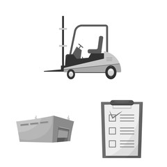 Vector design of goods and cargo sign. Collection of goods and warehouse stock symbol for web.