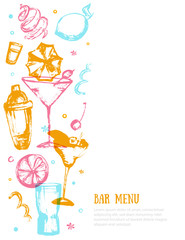 Alcohol drink bar menu banner with sketch glasses, drinks. Colorful grunge drawing style. Template design isolated on white background