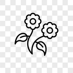 Flower vector icon isolated on transparent background, Flower logo design