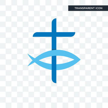 christian fish vector icon isolated on transparent background, christian fish logo design