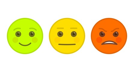 Positive, neutral and angry emoticons isolated on white background. Yellow, red and green emoji symbols. Social communication and internet chatting vector element. Smile face with facial expression