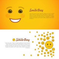 World smile day horizontal flyers. Greeting card with cheerful emoticon. Happiness and fun holiday celebration. Happy smile emoji on white and yellow background. Positive event vector illustration