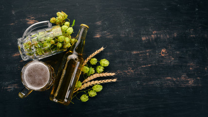 Beer and fresh hops on a black wooden background. Free space for text. Top view.
