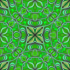 Abstract seamless background of bright ornate elements. Decorative pattern.