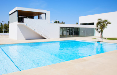 Luxury villa with swimming pool. Modern villa with pool.