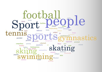 Sport. Collage of words Vector illustration