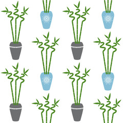 green bamboo branch with leaves in blue and gray pots boho style on a white background seamless pattern home plant asia tropical zen vector