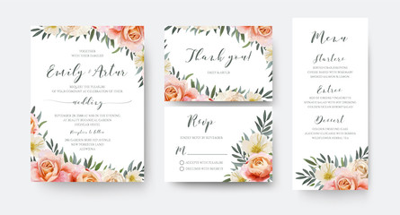 Wedding floral invite, thank you, rsvp menu card design with garden pink peach, orange Rose, yellow white Magnolia flower, Eucalyptus, green Olive tree leaves wreath decoration. Romantic vector layout