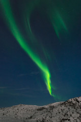 Aurora, Northern lights in the tundra in winter in the sky.