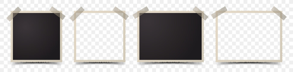 Set of deckle edge photo frames on transparent background