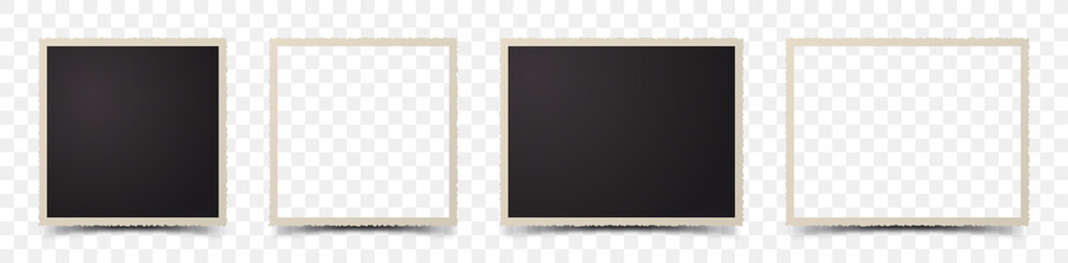 Set of deckle edge photo frames on transparent background Fototapete