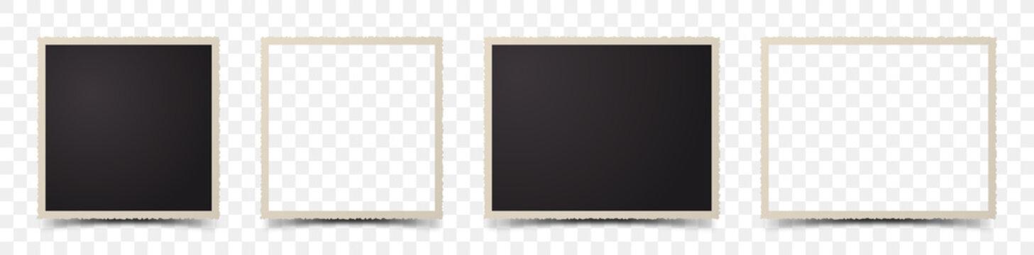Set of deckle edge photo frames on transparent background