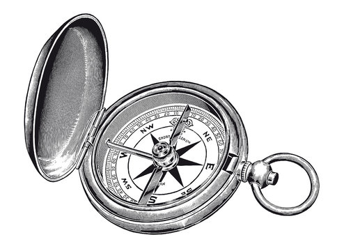 Vector High Detail Vintage Compass Rose Engraving