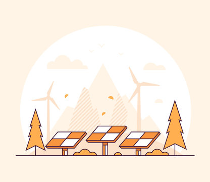 Renewable energy - thin line design style vector illustration