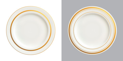 Vector illustration of white plates with gold trims, isolated on white and dark backgrounds.