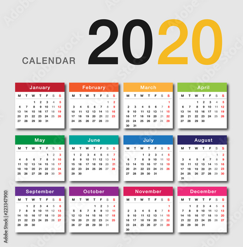 Calendar Year 2020.Colorful Calendar Year 2020 Vector Design Template Simple And Clean