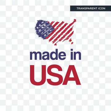 made in usa vector icon isolated on transparent background, made in usa logo design