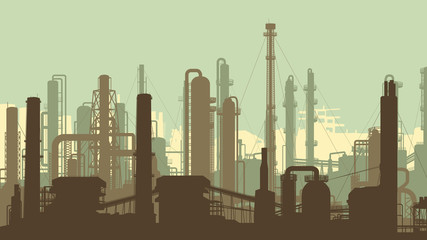 Horizontal green illustration industrial part of city.