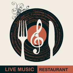 Vector menu or banner for restaurant with live music decorated with old vinyl record and cutlery on light background in retro style