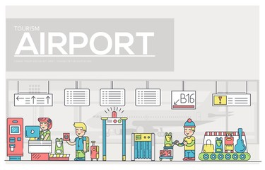 Thin line staff working and registering people and luggage in the airport design.  Registration outline vector illustration concept.