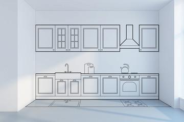 kitchen planning design, concept 3d rendering