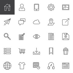Web development outline icons set. linear style symbols collection, line signs pack. vector graphics. Set includes icons as Home page, User Profile, Smartphone, Settings, Image, Paper plane, Chat