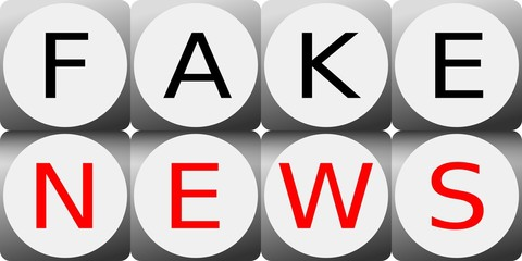 Illustration of two rows of dice with Fake News sign