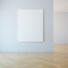 blank picture on the wall, 3d rendering