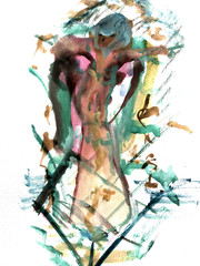 A woman is painted in watercolor. Female. Watercolor. Drawing