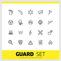 Guard icons. Set of line icons. Bomb, radiation sign, fire. Caution signs concept. Vector illustration can be used for topics like danger, hazard, security