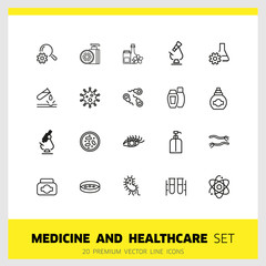 Medicine and healthcare icons. Set of  line icons. Bacteria, corrosion, microscope. Science concept. Vector illustration can be used for topics like microbiology, research, pharmaceutics